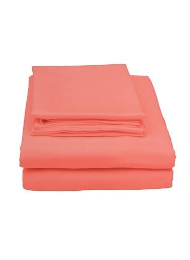 Hibboux 180x240 Dream Pure %100 Pamuk Saten Tek Kişilik Çarşaf Seti - ORANGE Oranj